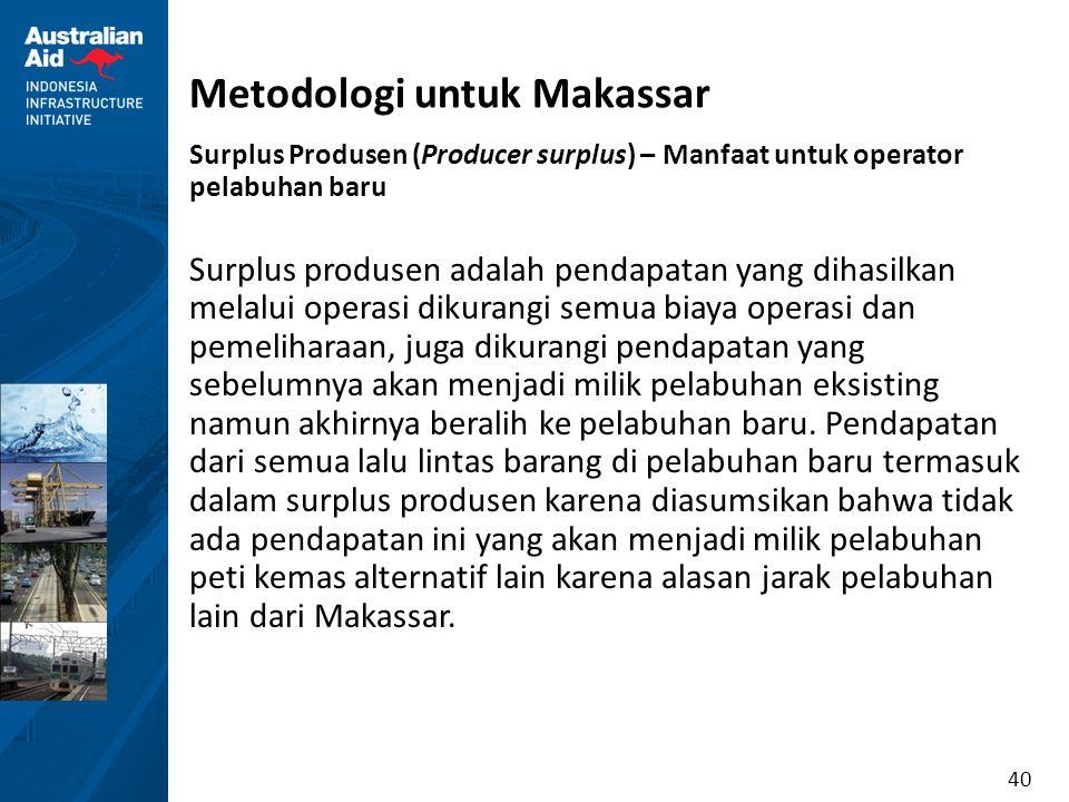 40 Metodologi untuk Makassar Surplus Produsen (Producer surplus) – Manfaat untuk operator pelabuhan baru Surplus produsen adalah pendapatan yang dihas
