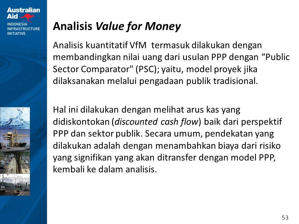 """53 Analisis Value for Money Analisis kuantitatif VfM termasuk dilakukan dengan membandingkan nilai uang dari usulan PPP dengan """"Public Sector Comparat"""