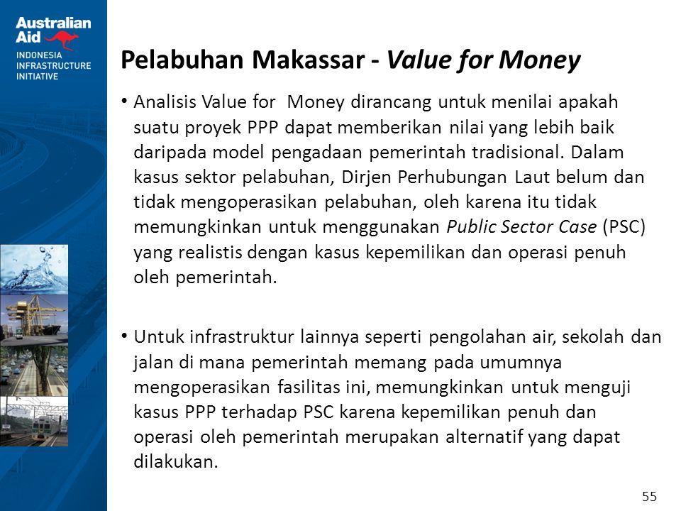 55 Pelabuhan Makassar - Value for Money Analisis Value for Money dirancang untuk menilai apakah suatu proyek PPP dapat memberikan nilai yang lebih bai