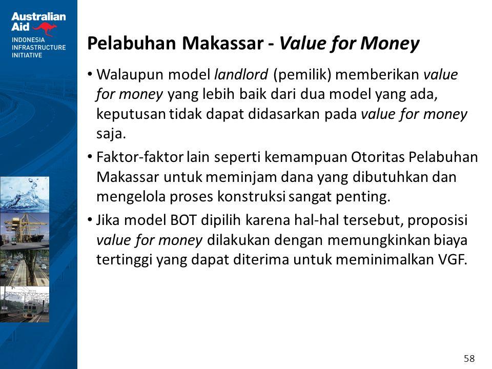 58 Pelabuhan Makassar - Value for Money Walaupun model landlord (pemilik) memberikan value for money yang lebih baik dari dua model yang ada, keputusa