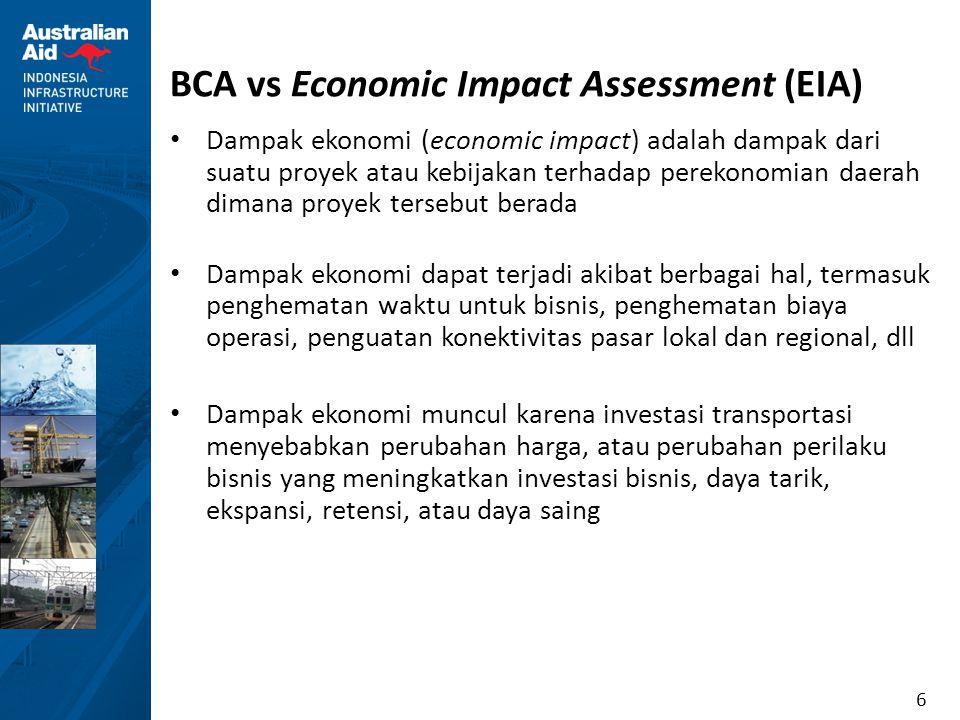 7 BCA vs Economic Impact Assessment (EIA) BCAEIA Evaluasi yang sistematis dari keuntungan (manfaat) dan kerugian (biaya) ekonomi dari suatu alternatif investasi.