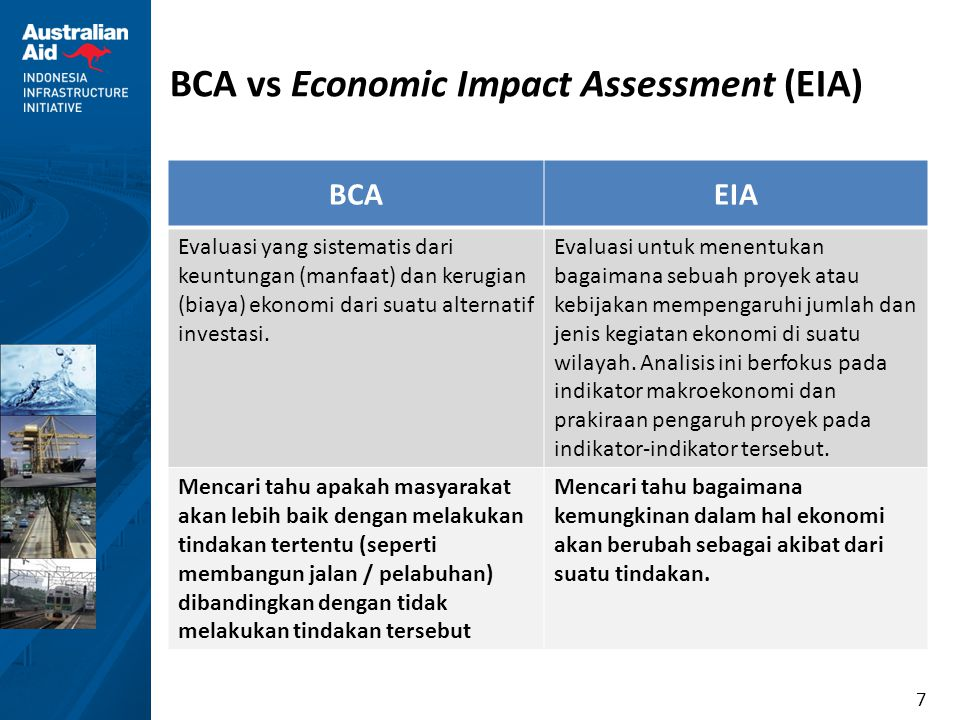 7 BCA vs Economic Impact Assessment (EIA) BCAEIA Evaluasi yang sistematis dari keuntungan (manfaat) dan kerugian (biaya) ekonomi dari suatu alternatif