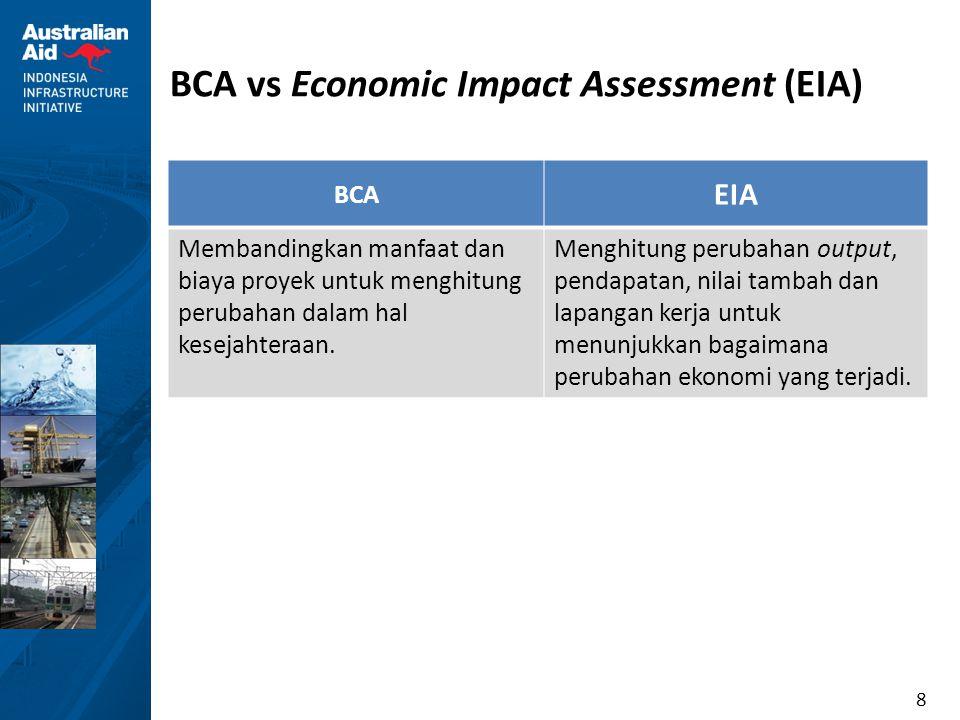 8 BCA vs Economic Impact Assessment (EIA) BCA EIA Membandingkan manfaat dan biaya proyek untuk menghitung perubahan dalam hal kesejahteraan. Menghitun