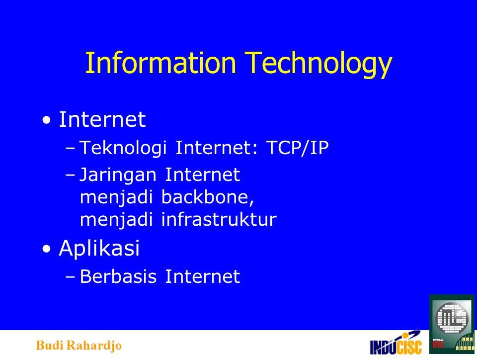 Budi Rahardjo Information Technology Internet –Teknologi Internet: TCP/IP –Jaringan Internet menjadi backbone, menjadi infrastruktur Aplikasi –Berbasis Internet