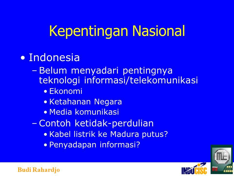 Budi Rahardjo Kepentingan Nasional Indonesia –Belum menyadari pentingnya teknologi informasi/telekomunikasi Ekonomi Ketahanan Negara Media komunikasi –Contoh ketidak-perdulian Kabel listrik ke Madura putus.