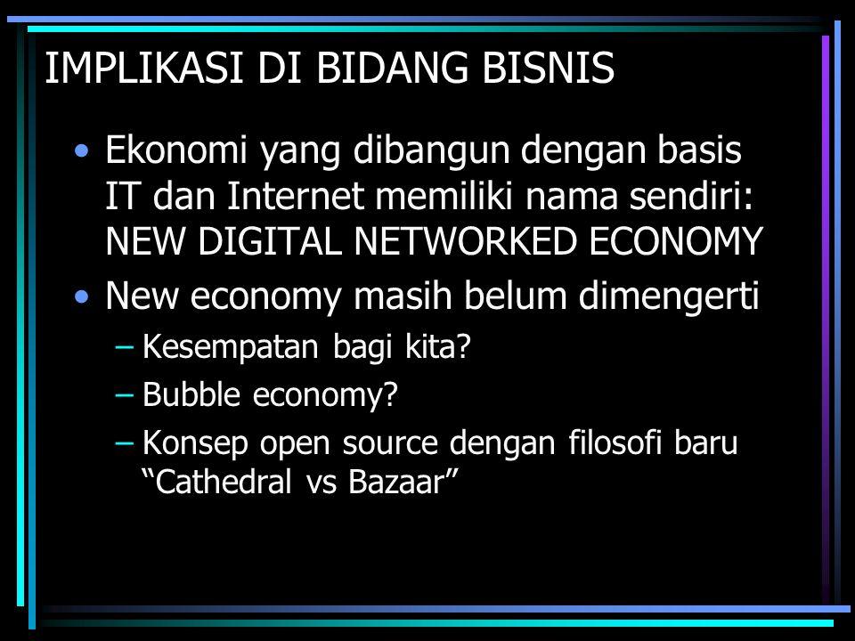 IMPLIKASI DI BIDANG BISNIS Ekonomi yang dibangun dengan basis IT dan Internet memiliki nama sendiri: NEW DIGITAL NETWORKED ECONOMY New economy masih b