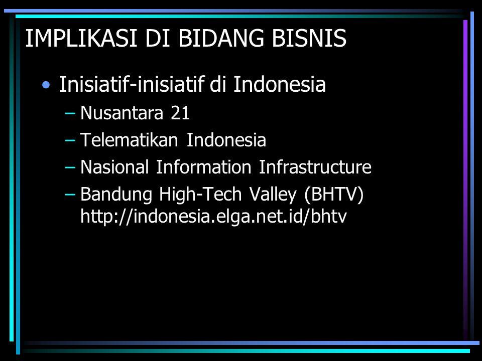IMPLIKASI DI BIDANG BISNIS Inisiatif-inisiatif di Indonesia –Nusantara 21 –Telematikan Indonesia –Nasional Information Infrastructure –Bandung High-Te