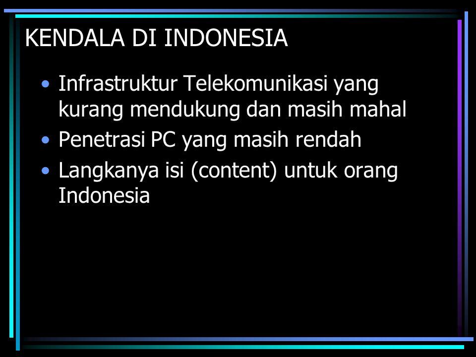 KENDALA DI INDONESIA Infrastruktur Telekomunikasi yang kurang mendukung dan masih mahal Penetrasi PC yang masih rendah Langkanya isi (content) untuk o
