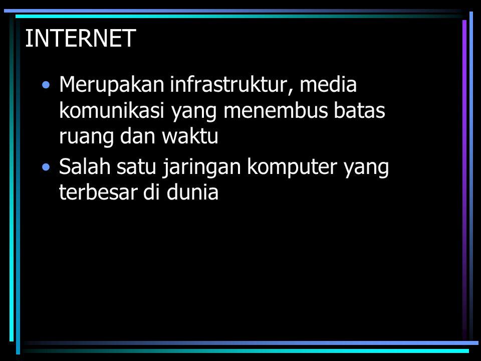 INTERNET Merupakan infrastruktur, media komunikasi yang menembus batas ruang dan waktu Salah satu jaringan komputer yang terbesar di dunia