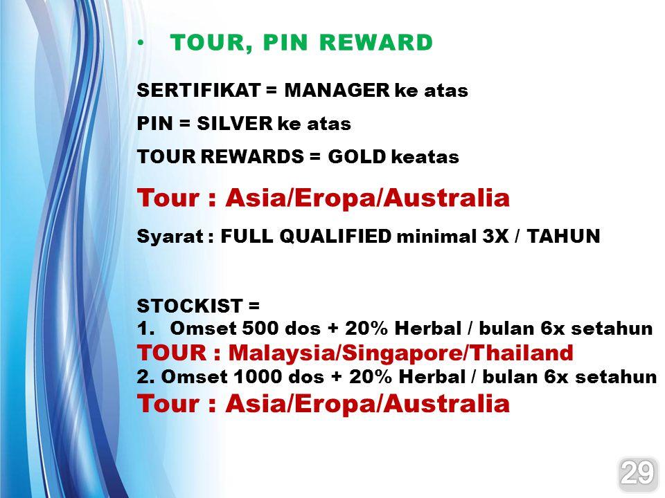 TOUR, PIN REWARD TOUR, PIN REWARD SERTIFIKAT = MANAGER ke atas PIN = SILVER ke atas TOUR REWARDS = GOLD keatas Tour : Asia/Eropa/Australia Syarat : FU