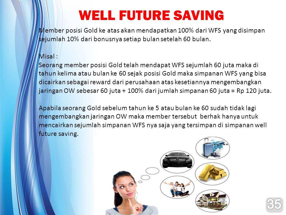 WELL FUTURE SAVING Member posisi Gold ke atas akan mendapatkan 100% dari WFS yang disimpan sejumlah 10% dari bonusnya setiap bulan setelah 60 bulan. M