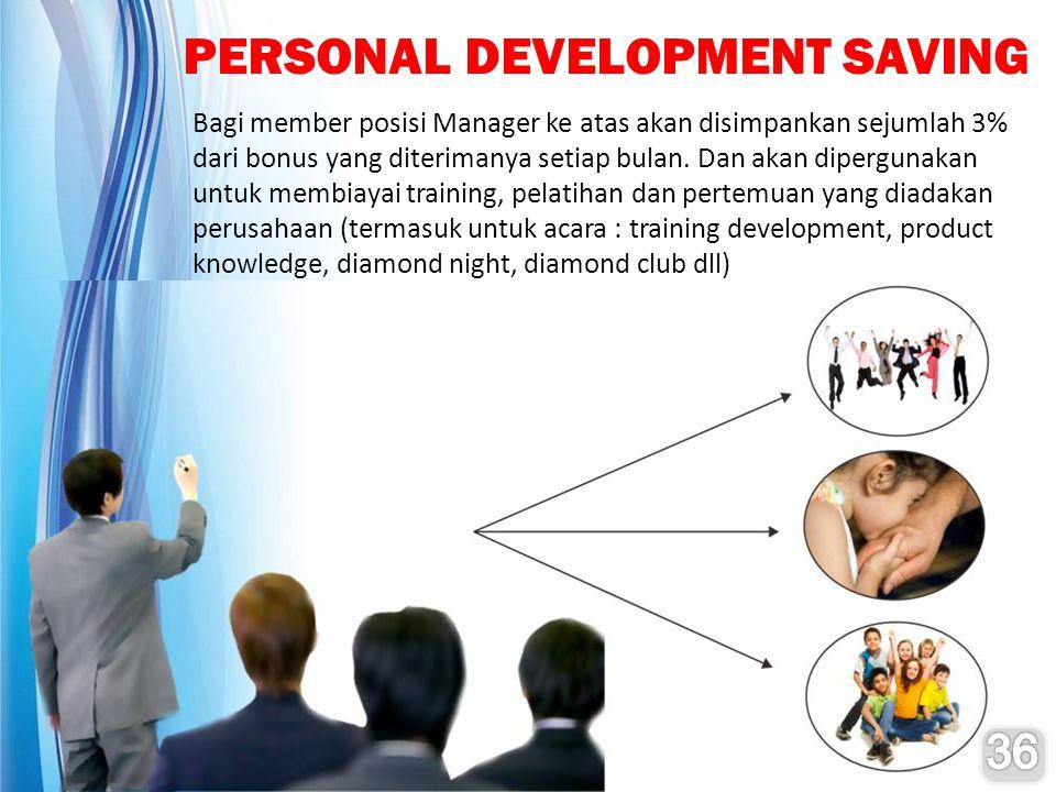 PERSONAL DEVELOPMENT SAVING Bagi member posisi Manager ke atas akan disimpankan sejumlah 3% dari bonus yang diterimanya setiap bulan. Dan akan dipergu