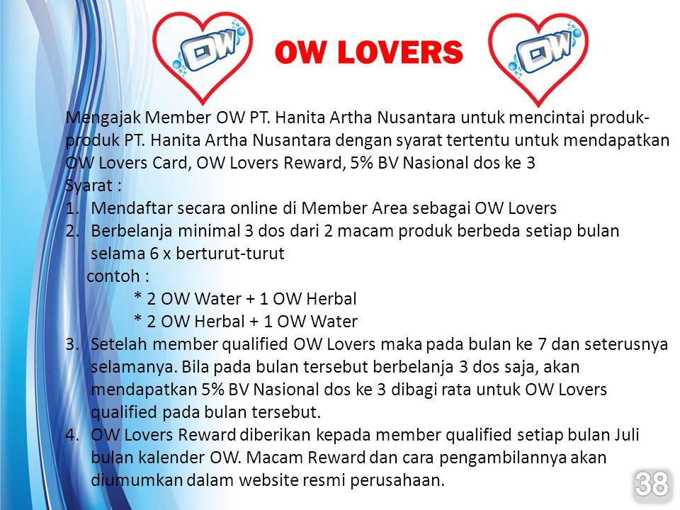 OW LOVERS Mengajak Member OW PT. Hanita Artha Nusantara untuk mencintai produk- produk PT. Hanita Artha Nusantara dengan syarat tertentu untuk mendapa