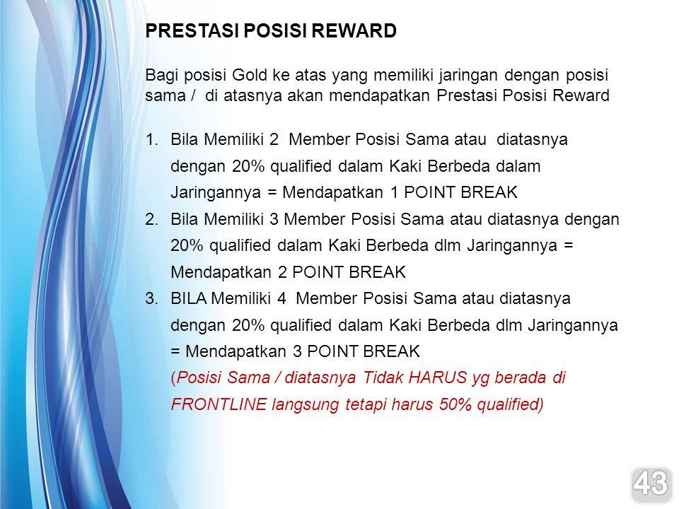 PRESTASI POSISI REWARD Bagi posisi Gold ke atas yang memiliki jaringan dengan posisi sama / di atasnya akan mendapatkan Prestasi Posisi Reward 1.Bila