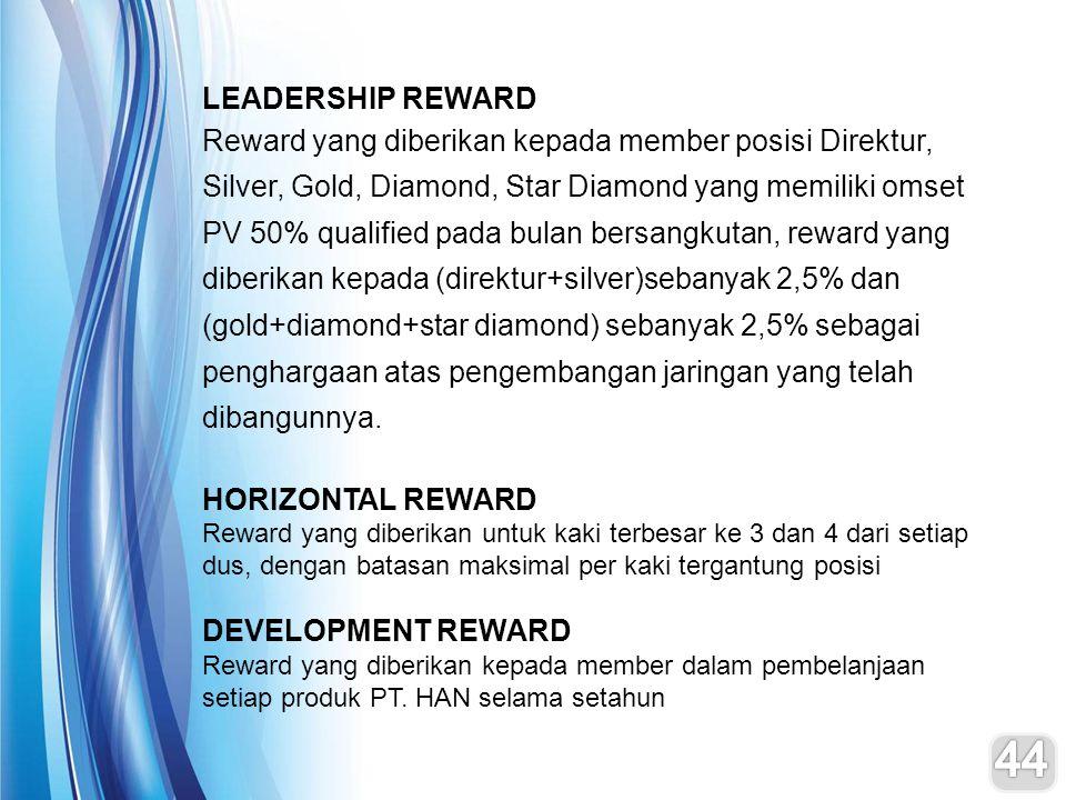 LEADERSHIP REWARD Reward yang diberikan kepada member posisi Direktur, Silver, Gold, Diamond, Star Diamond yang memiliki omset PV 50% qualified pada b