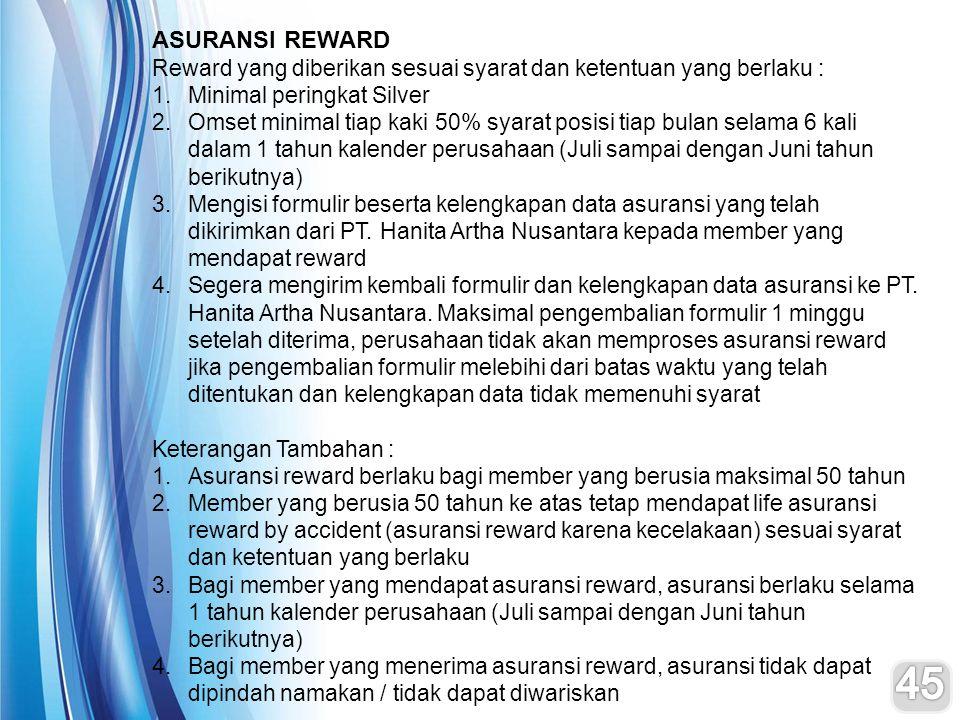ASURANSI REWARD Reward yang diberikan sesuai syarat dan ketentuan yang berlaku : 1.Minimal peringkat Silver 2.Omset minimal tiap kaki 50% syarat posis