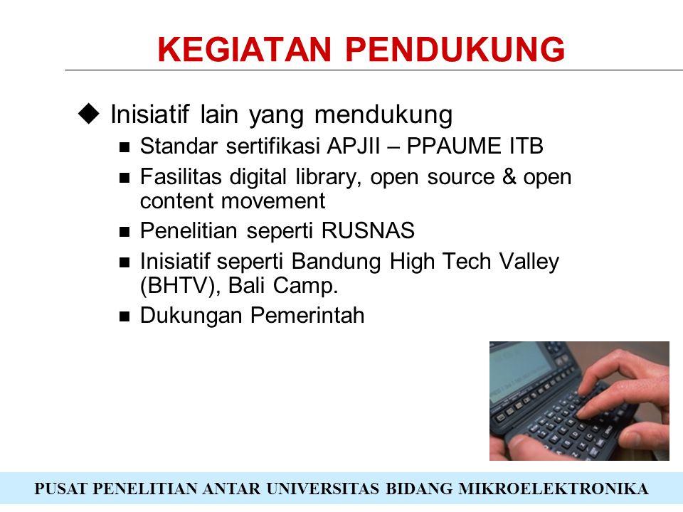 PUSAT PENELITIAN ANTAR UNIVERSITAS BIDANG MIKROELEKTRONIKA KEGIATAN PENDUKUNG  Inisiatif lain yang mendukung Standar sertifikasi APJII – PPAUME ITB Fasilitas digital library, open source & open content movement Penelitian seperti RUSNAS Inisiatif seperti Bandung High Tech Valley (BHTV), Bali Camp.