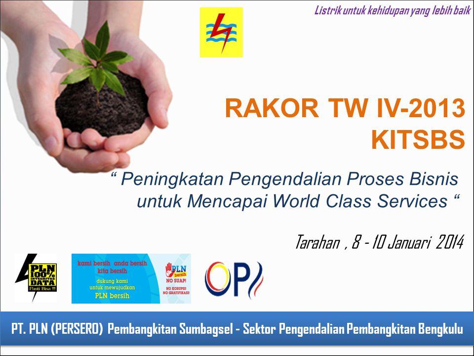 1 Listrik untuk kehidupan yang lebih baik PT. PLN (PERSERO) Pembangkitan Sumbagsel - Sektor Pengendalian Pembangkitan Bengkulu RAKOR TW IV-2013 KITSBS