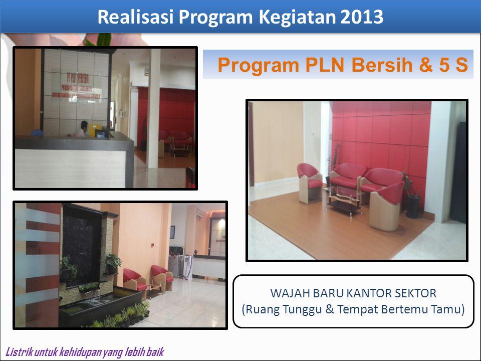 Program PLN Bersih & 5 S WAJAH BARU KANTOR SEKTOR (Ruang Tunggu & Tempat Bertemu Tamu) Realisasi Program Kegiatan 2013