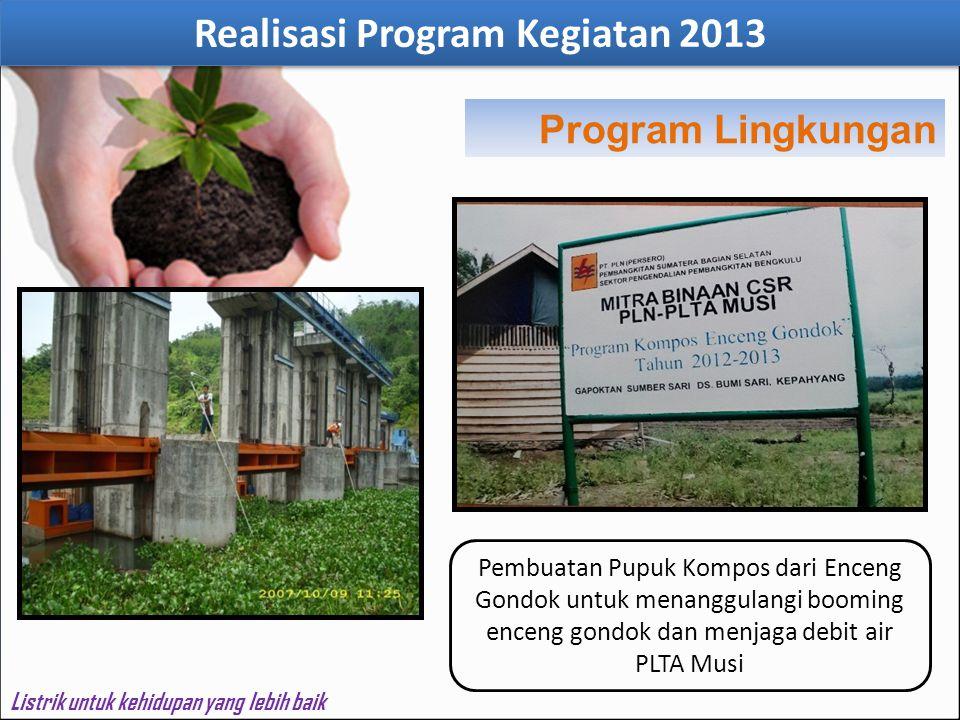 Realisasi Program Kegiatan 2013 Listrik untuk kehidupan yang lebih baik Pembuatan Pupuk Kompos dari Enceng Gondok untuk menanggulangi booming enceng g