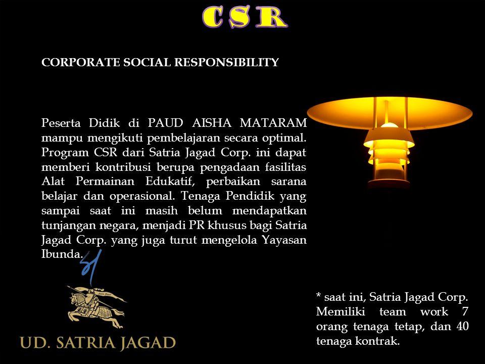 CORPORATE SOCIAL RESPONSIBILITY Peserta Didik di PAUD AISHA MATARAM mampu mengikuti pembelajaran secara optimal. Program CSR dari Satria Jagad Corp. i