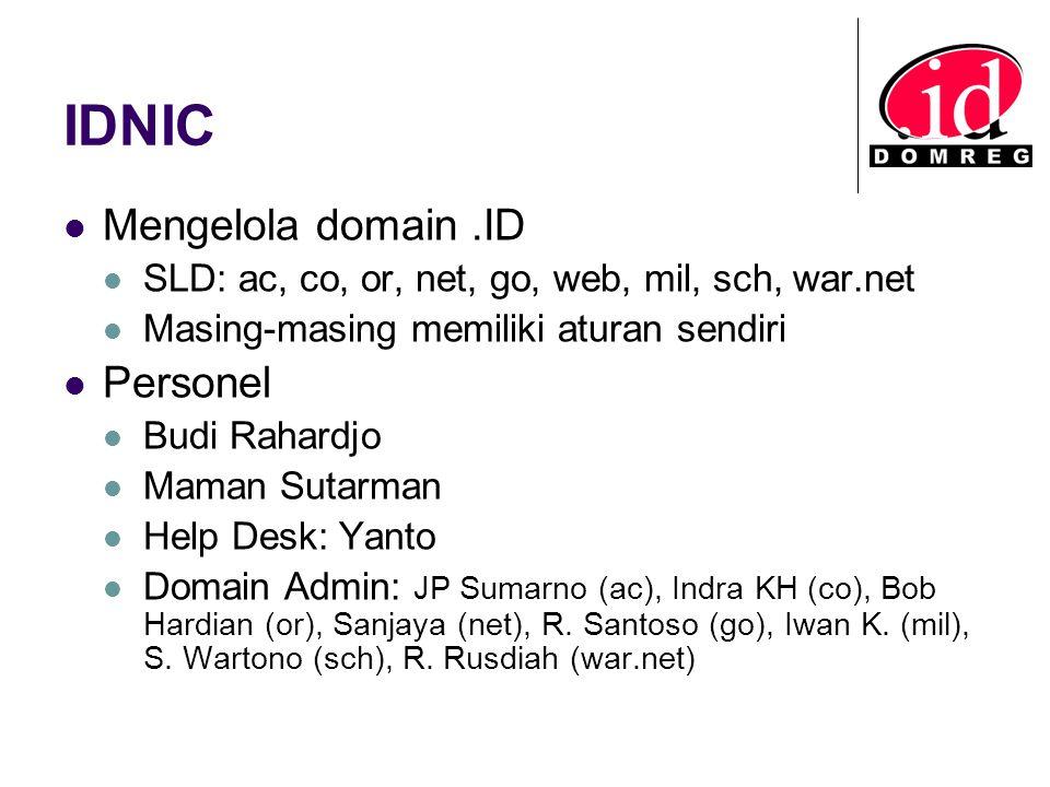 IDNIC Mengelola domain.ID SLD: ac, co, or, net, go, web, mil, sch, war.net Masing-masing memiliki aturan sendiri Personel Budi Rahardjo Maman Sutarman