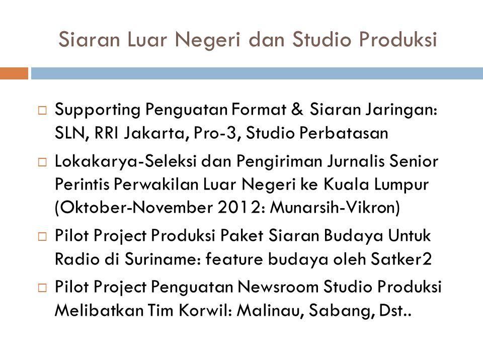 Siaran Luar Negeri dan Studio Produksi  Supporting Penguatan Format & Siaran Jaringan: SLN, RRI Jakarta, Pro-3, Studio Perbatasan  Lokakarya-Seleksi