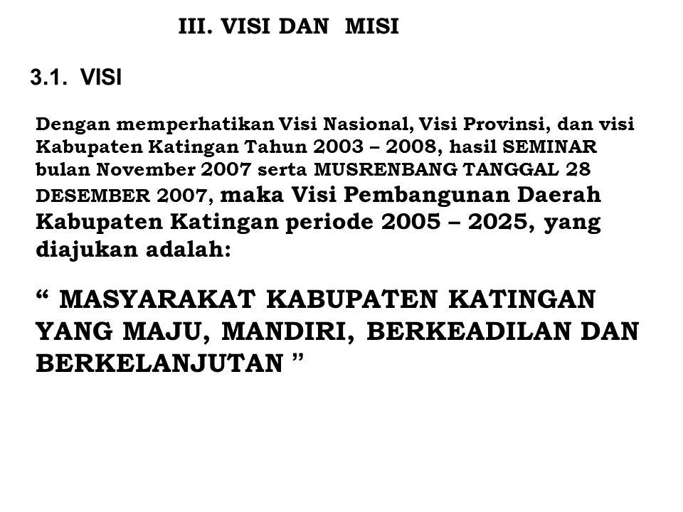 III. VISI DAN MISI 3.1. VISI Dengan memperhatikan Visi Nasional, Visi Provinsi, dan visi Kabupaten Katingan Tahun 2003 – 2008, hasil SEMINAR bulan Nov