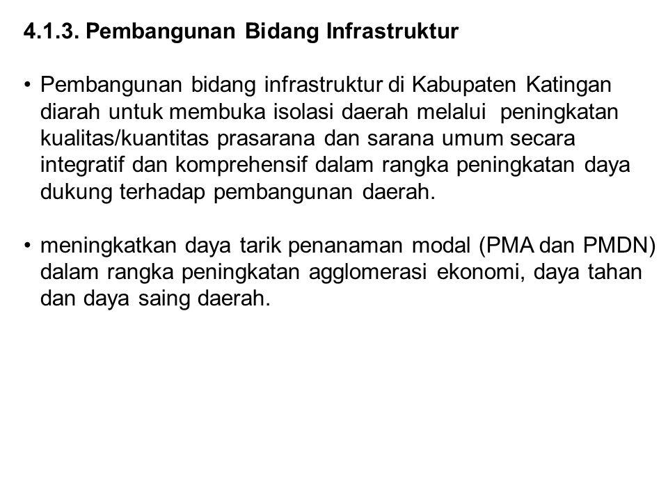 4.1.3. Pembangunan Bidang Infrastruktur Pembangunan bidang infrastruktur di Kabupaten Katingan diarah untuk membuka isolasi daerah melalui peningkatan