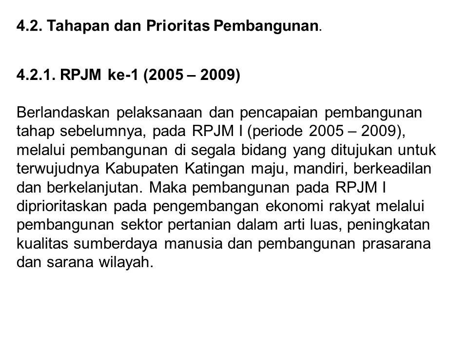 4.2. Tahapan dan Prioritas Pembangunan. 4.2.1. RPJM ke-1 (2005 – 2009) Berlandaskan pelaksanaan dan pencapaian pembangunan tahap sebelumnya, pada RPJM