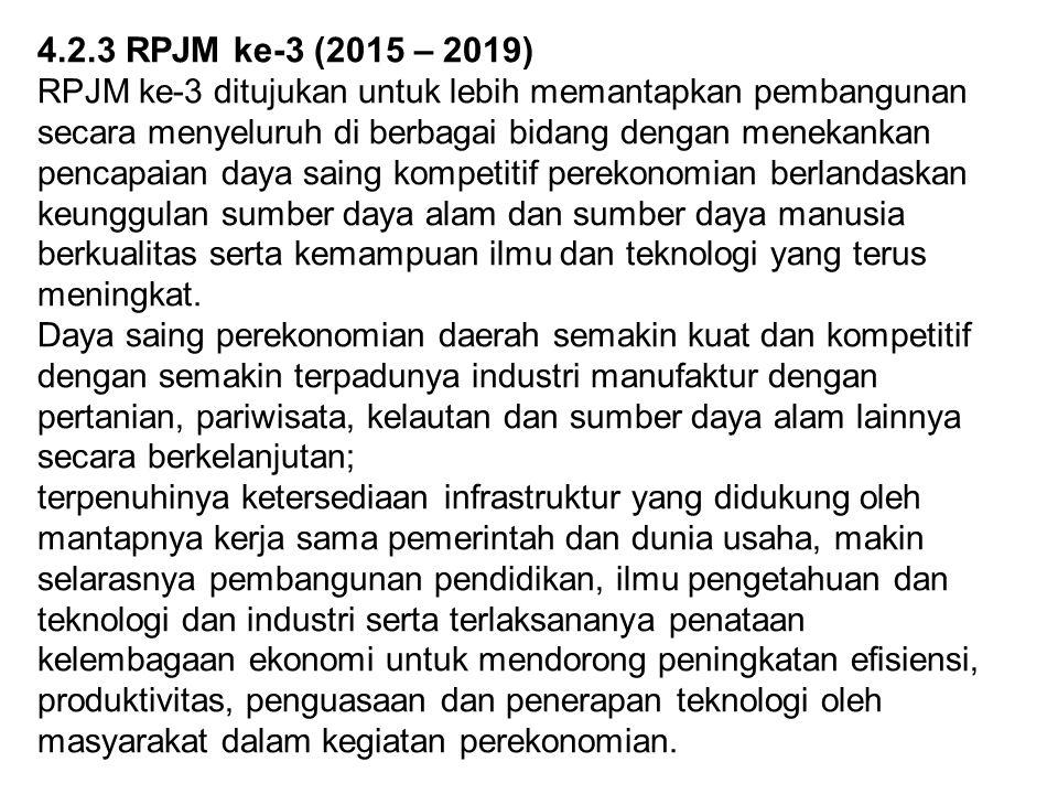 4.2.3 RPJM ke-3 (2015 – 2019) RPJM ke-3 ditujukan untuk lebih memantapkan pembangunan secara menyeluruh di berbagai bidang dengan menekankan pencapaia