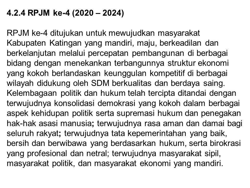 4.2.4 RPJM ke-4 (2020 – 2024) RPJM ke-4 ditujukan untuk mewujudkan masyarakat Kabupaten Katingan yang mandiri, maju, berkeadilan dan berkelanjutan mel
