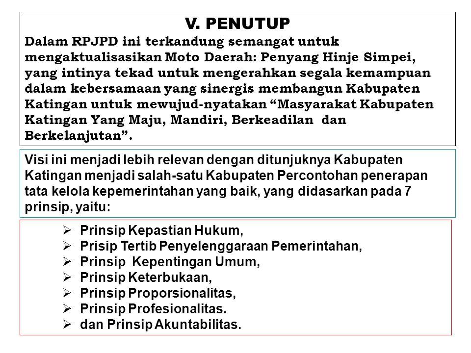 V. PENUTUP Dalam RPJPD ini terkandung semangat untuk mengaktualisasikan Moto Daerah: Penyang Hinje Simpei, yang intinya tekad untuk mengerahkan segala
