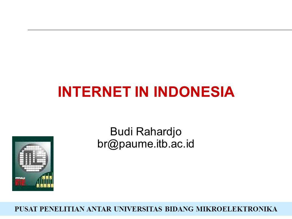 PUSAT PENELITIAN ANTAR UNIVERSITAS BIDANG MIKROELEKTRONIKA INTERNET IN INDONESIA Budi Rahardjo br@paume.itb.ac.id