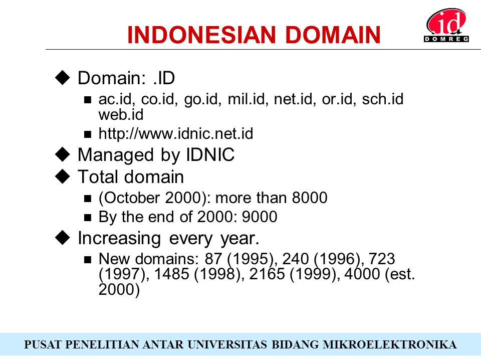PUSAT PENELITIAN ANTAR UNIVERSITAS BIDANG MIKROELEKTRONIKA CONNECTIVITY  Physical Telkom, Wireless, Satellite, Cable TV, private networks Backbone to outside Indonesia through Indosat Internet Exchange (IIX) in Jakarta  Logical IDNIC, IDCERT, Certificate Authority