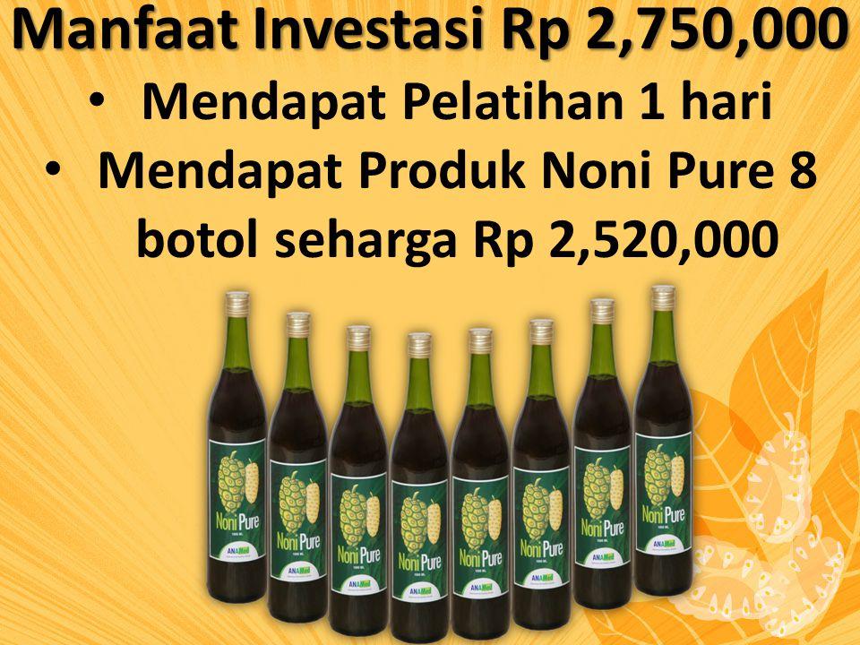 Manfaat Investasi Rp 2,750,000 Mendapat Pelatihan 1 hari Mendapat Produk Noni Pure 8 botol seharga Rp 2,520,000