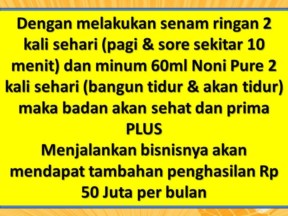 Dengan melakukan senam ringan 2 kali sehari (pagi & sore sekitar 10 menit) dan minum 60ml Noni Pure 2 kali sehari (bangun tidur & akan tidur) maka bad