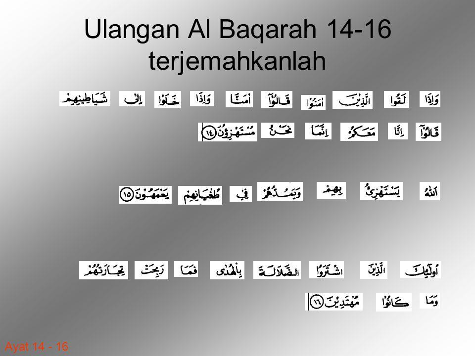 Ayat 14 - 16 Ulangan Al Baqarah 14-16 terjemahkanlah