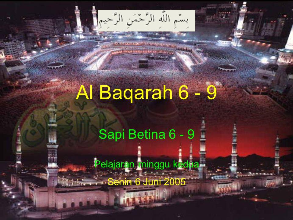 Al Baqarah 6 - 9 Sapi Betina 6 - 9 Pelajaran minggu kedua Senin 6 Juni 2005