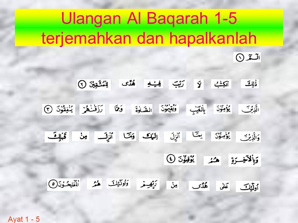 Ulangan Al Baqarah 1-5 terjemahkan dan hapalkanlah Ayat 1 - 5