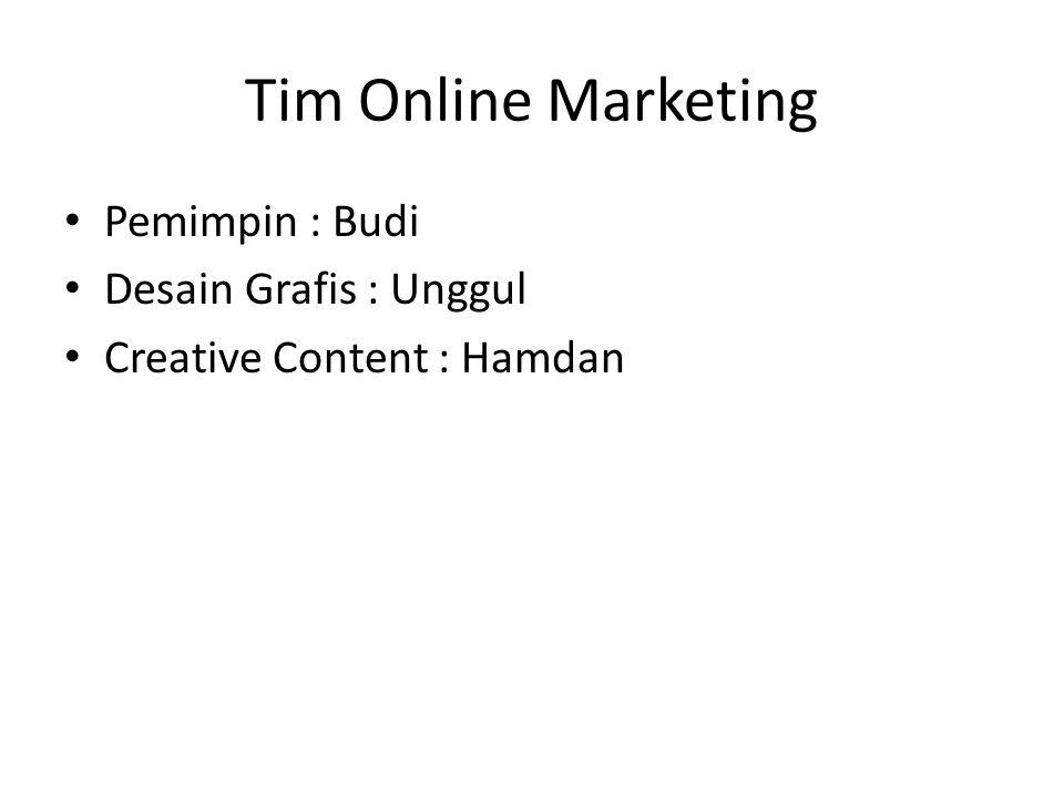 Tim Online Marketing Pemimpin : Budi Desain Grafis : Unggul Creative Content : Hamdan