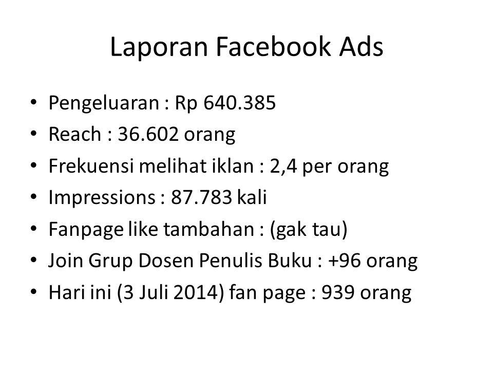 Laporan Facebook Ads Pengeluaran : Rp 640.385 Reach : 36.602 orang Frekuensi melihat iklan : 2,4 per orang Impressions : 87.783 kali Fanpage like tamb