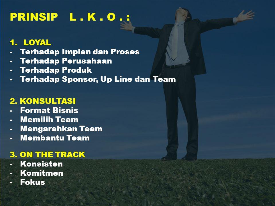 PRINSIP L. K. O. : 1.LOYAL -Terhadap Impian dan Proses -Terhadap Perusahaan -Terhadap Produk -Terhadap Sponsor, Up Line dan Team 2. KONSULTASI -Format