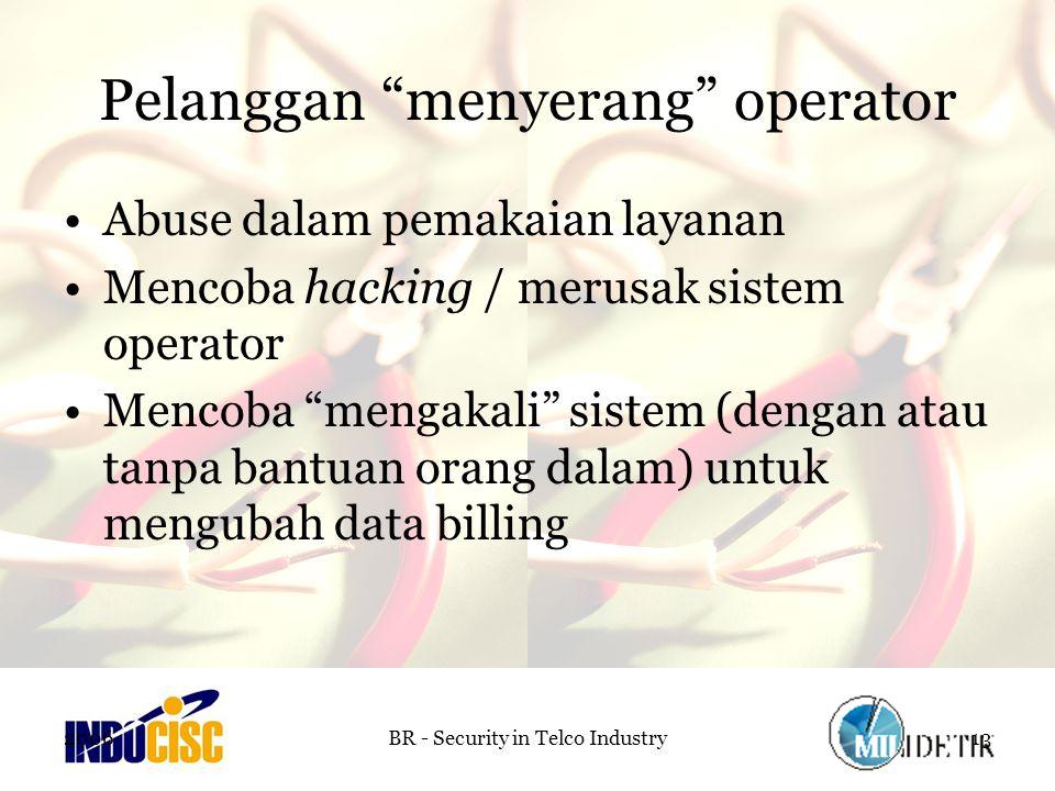2006BR - Security in Telco Industry13 Pelanggan menyerang operator Abuse dalam pemakaian layanan Mencoba hacking / merusak sistem operator Mencoba mengakali sistem (dengan atau tanpa bantuan orang dalam) untuk mengubah data billing