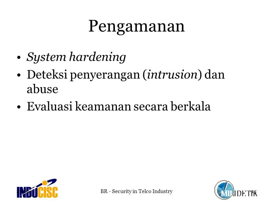 2006BR - Security in Telco Industry14 Pengamanan System hardening Deteksi penyerangan (intrusion) dan abuse Evaluasi keamanan secara berkala