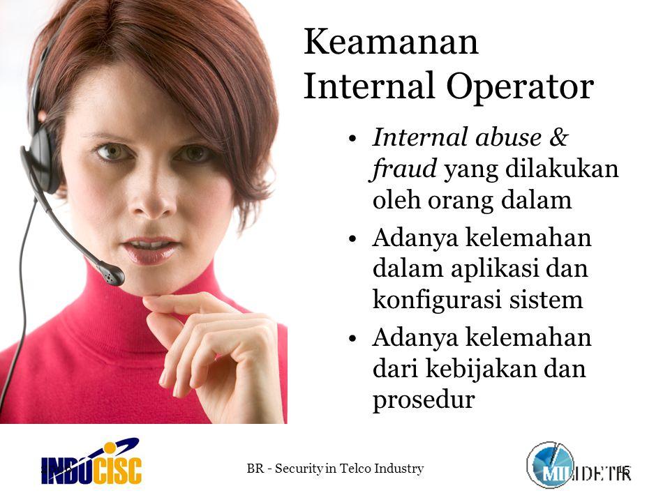 2006BR - Security in Telco Industry15 Keamanan Internal Operator Internal abuse & fraud yang dilakukan oleh orang dalam Adanya kelemahan dalam aplikasi dan konfigurasi sistem Adanya kelemahan dari kebijakan dan prosedur
