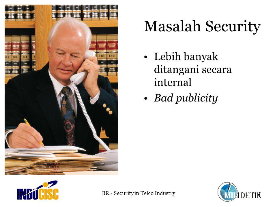 2006BR - Security in Telco Industry2 Masalah Security Lebih banyak ditangani secara internal Bad publicity