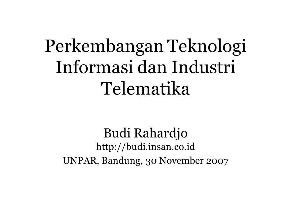 Perkembangan Teknologi Informasi dan Industri Telematika Budi Rahardjo http://budi.insan.co.id UNPAR, Bandung, 30 November 2007