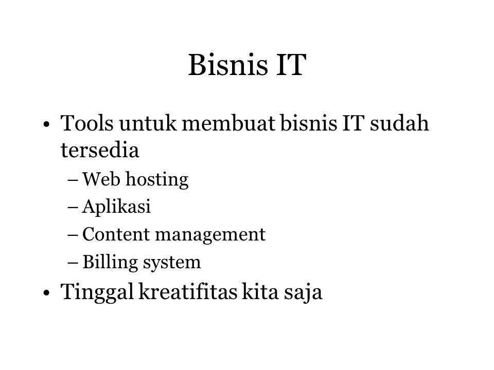 Bisnis IT Tools untuk membuat bisnis IT sudah tersedia –Web hosting –Aplikasi –Content management –Billing system Tinggal kreatifitas kita saja
