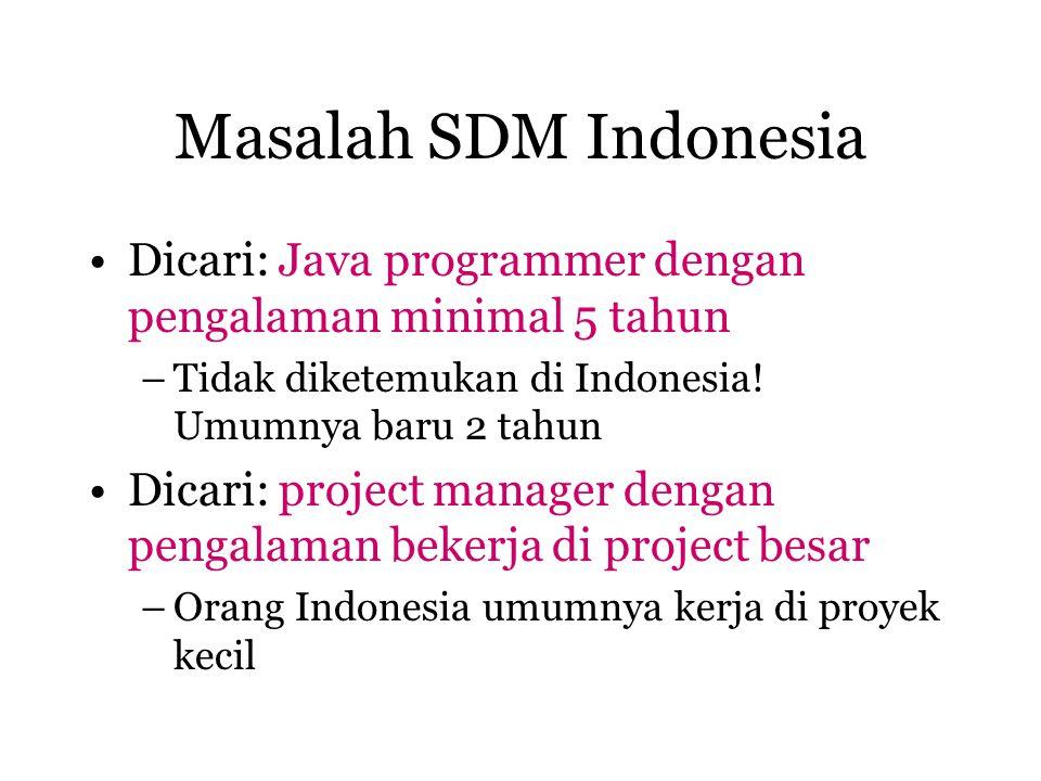 Masalah SDM Indonesia Dicari: Java programmer dengan pengalaman minimal 5 tahun –Tidak diketemukan di Indonesia! Umumnya baru 2 tahun Dicari: project